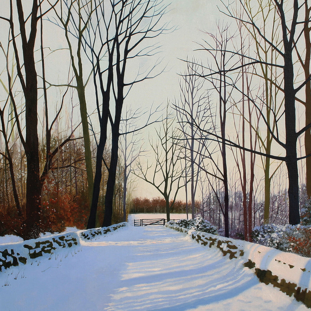 """Fresh Snow"" art landscape greeting card by Heather Blanchard."