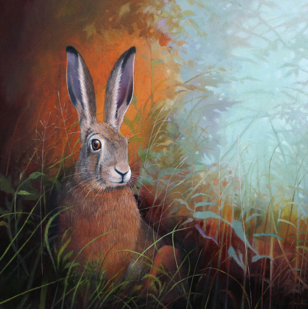 """Golden Hare"" art landscape greeting card by Heather Blanchard."