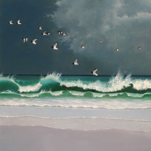 """Oystercatchers"" art landscape greeting card by Heather Blanchard."