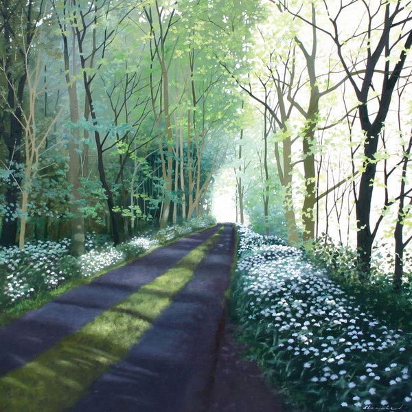 """Ramsons"" art landscape greeting card by Heather Blanchard."