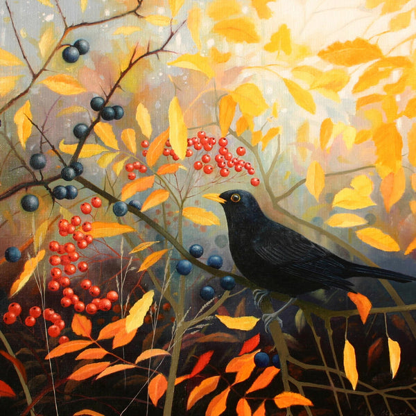 Autumn Blackbird art greeting card by Heather Blanchard. Blackbird with berries and autumnal colours