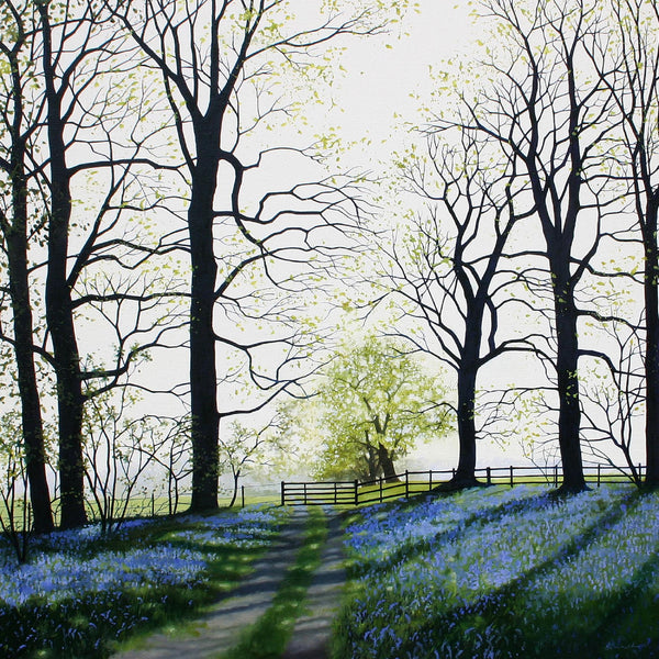 Bluebells landscape greeting card by Heather Blanchard.
