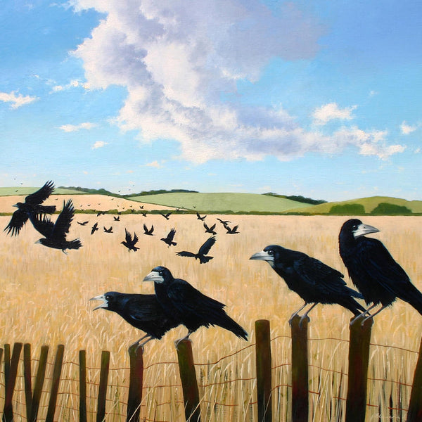 Summer Rooks landscape and bird greeting card by Heather Blanchard.