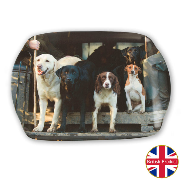 "Dogs in the ""Beaters Bus"" Medium Melamine Serving Tray by Charles Sainsbury-Plaice"