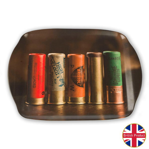 Old Shotgun Cartridges Medium Melamine Serving Tray by Charles Sainsbury-Plaice