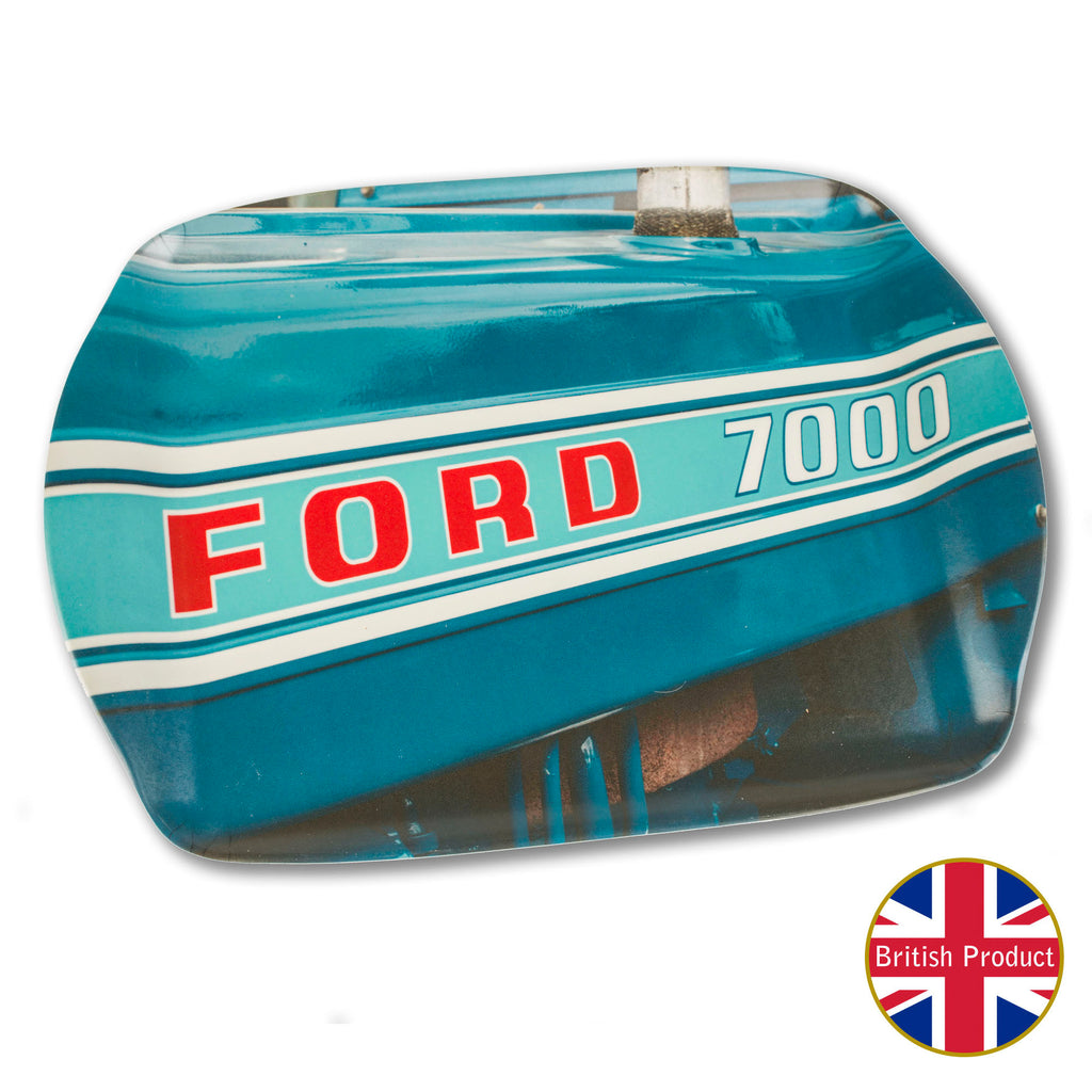 Ford 7000 Tractor Badge Medium Melamine Serving Tray by Charles Sainsbury-Plaice