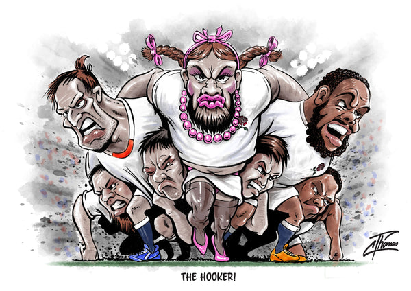 Rugby greeting card. The Hooker by Courtney Thomas