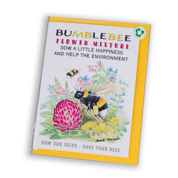 bumblebee greeting card with wildflower seed mixture