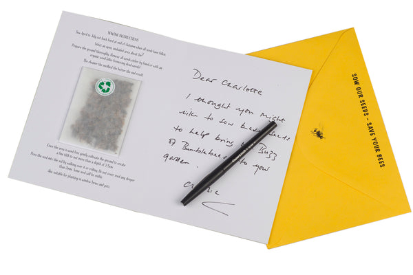bumblebee greeting card with seed mixture inside