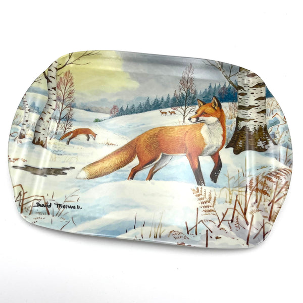 Fox in snow wildlife and nature melamine serving tray by David Thelwell