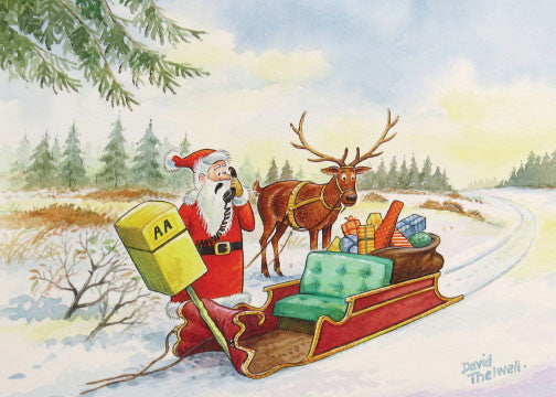 "Copy of ""What membersship number"" Santa & Deer Christmas Card by David Thelwell"