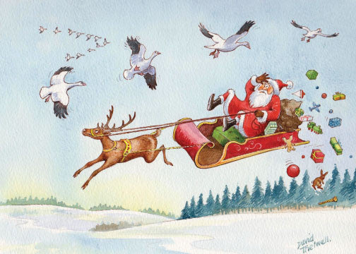 """Near miss"" Santa, Deer & Geese Christmas Card by David Thelwell"