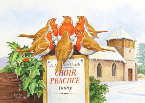 """Choir Practice"" robins singing Christmas Card by David Thelwell"