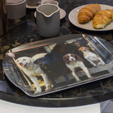 Medium Melamine Serving Tray featuring working dogs. The Beaters by Charles Sainsbury-Plaice