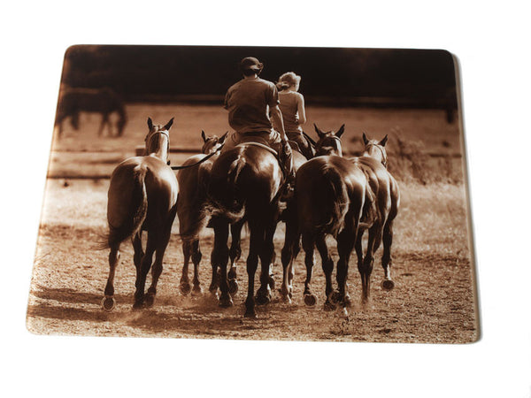 """Evening Exercise"" glass kitchen worktop surface protector. Iconic photographic polo ponies image by Charles Sainsbury-Plaice."