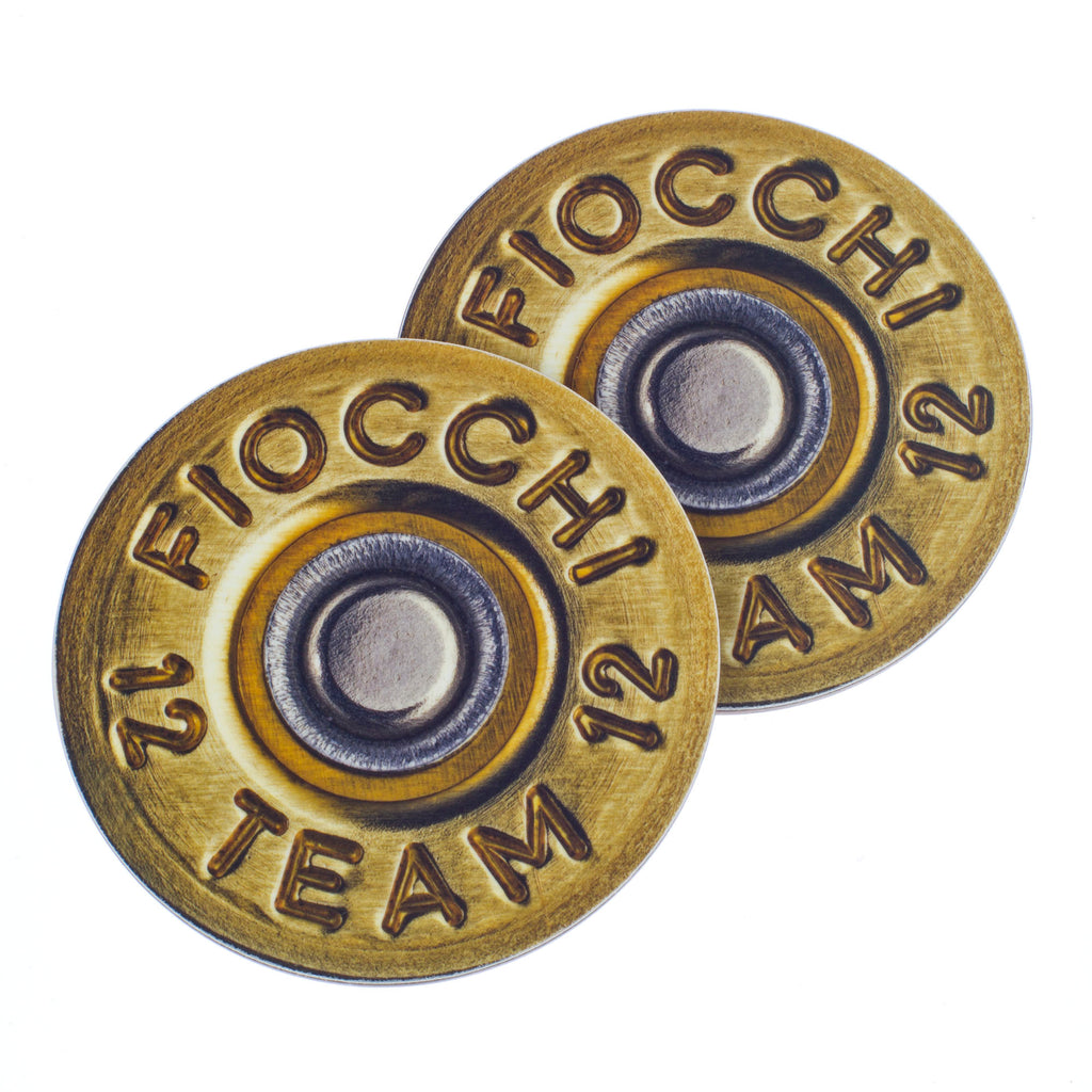 2 x Fiocchi Shotgun Cartridge Coasters. Shooting gift.