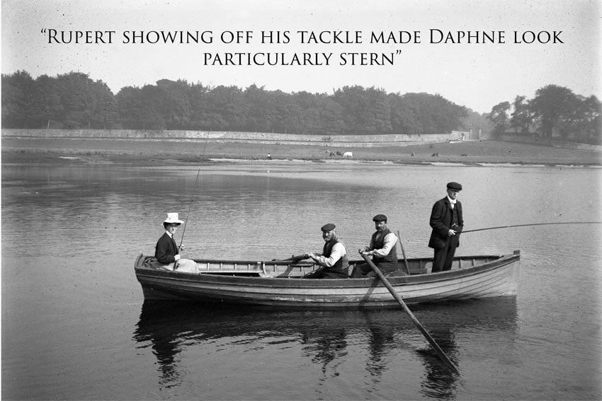 """Fishing 1930's"" Humorous card with funny caption. Blank on the inside perfect for any occasion. Large A5 size with envelope"