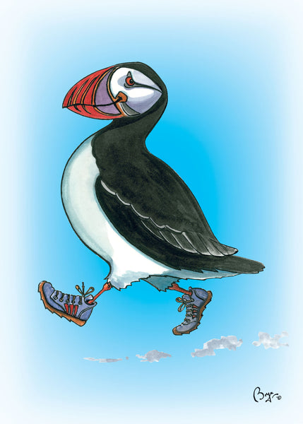 Huffin Puffin cartoon greeting card by Bryn Parry