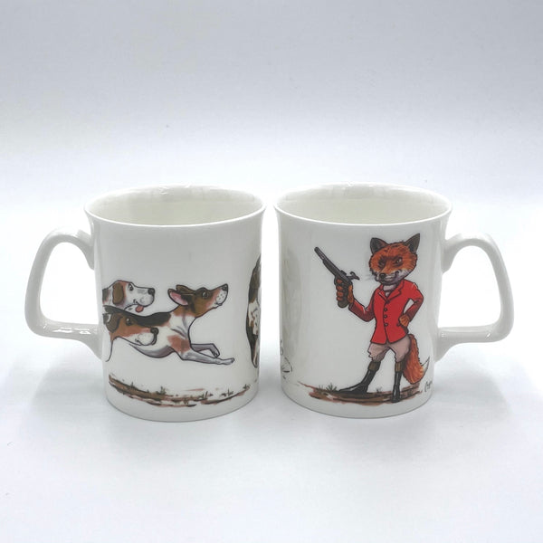 1 x Bone china cartoon hunting mug. Fox's ambush by Bryn Parry