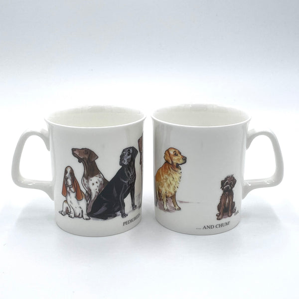 1 x Bone china cartoon dogs mug. Pedigrees and Chum by Bryn Parry