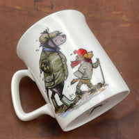 1 x Bone china cartoon walking and dogs mug. Long wet walk by Bryn Parry
