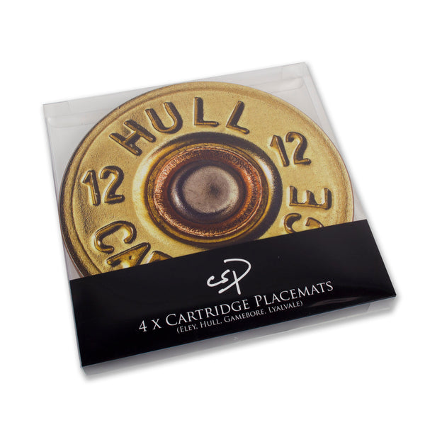 Set of four shotgun cartridge design table mats