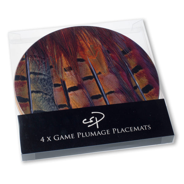 4 x Mixed Game plumage or feather design placemats.