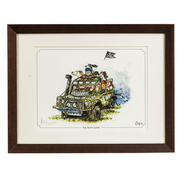 "Shooting and Land Rover cartoon limited edition print. ""The Shoot Landy"" by countryside cartoonist Bryn Parry"