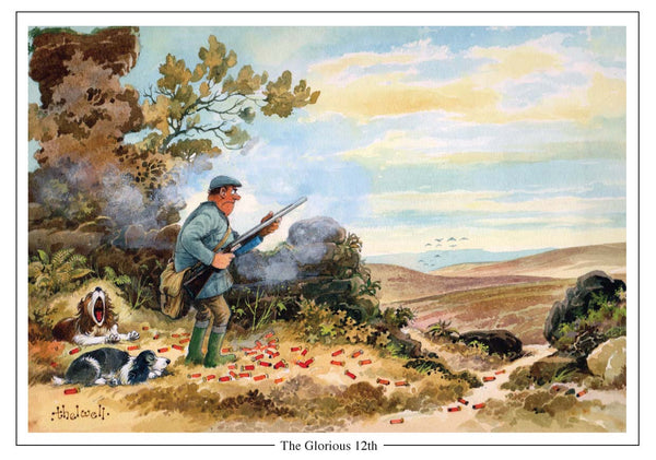 The Glorious 12th shooting Cartoon Greeting Card by Thelwell  Edit alt text