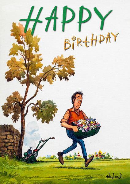 Gardening birthday card. Fresh Cuttings by Thelwell