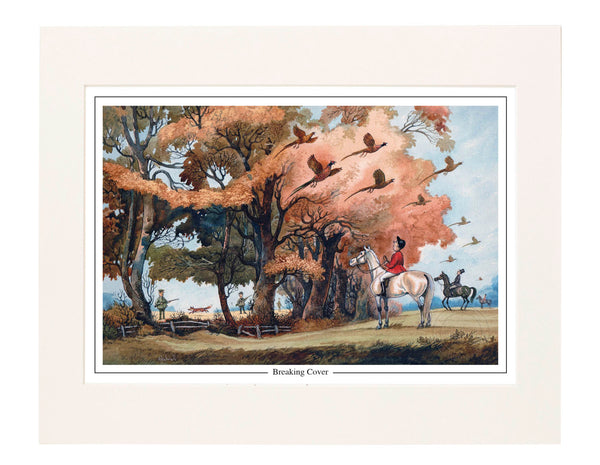 Fox hunting and shooting print. Breaking Cover by Norman Thelwell.