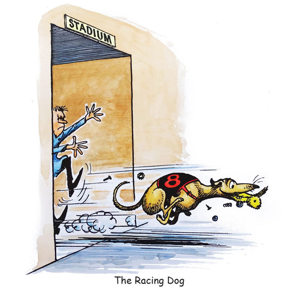 Greyhound Racing Greeting Card. The Racing Dog by Norman Thelwell