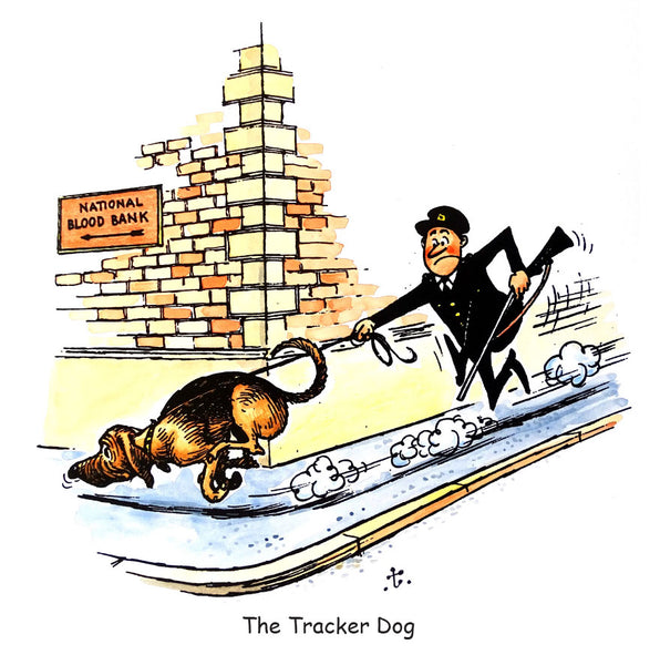 Dog Greeting Card. The Tracker Dog or Bloodhound by Norman Thelwell