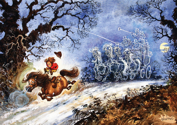 "Horse or Pony Greeting Card ""Ghost Stagecoach"" by Norman Thelwell"