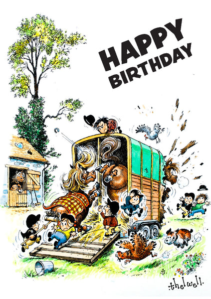 Funny horse riding birthday card. The Horsebox by Thelwell