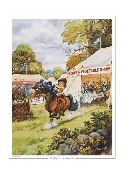 """Highly recommended"" Thelwell open edition print"