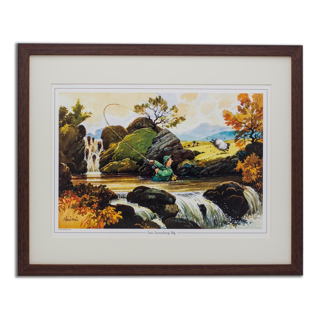 Cartoon fly fishing print. Into Something Big by Thelwell