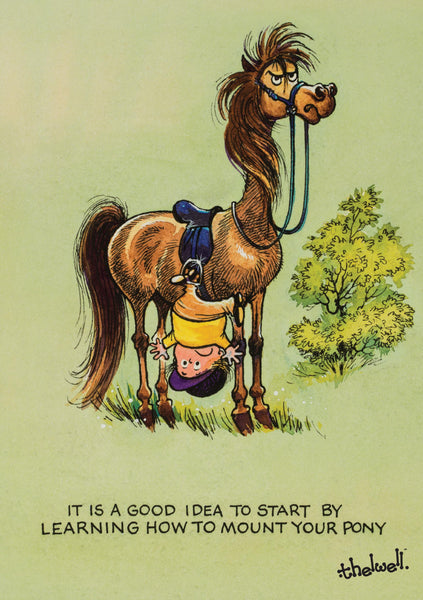 "Horse or Pony Greeting Card ""Learning to Ride"" by Norman Thelwell"