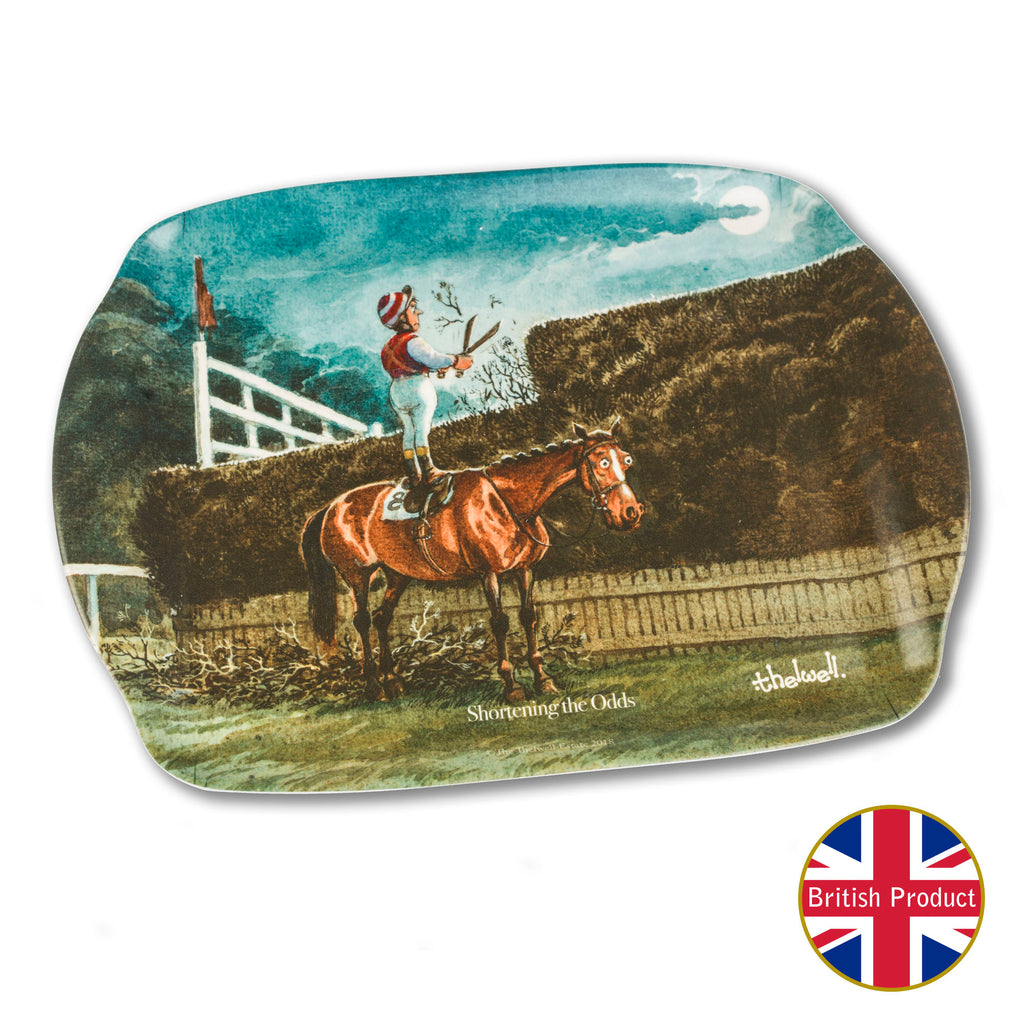 "Melamine Serving Tray. ""Shortening the Odds"" by Norman Thelwell"