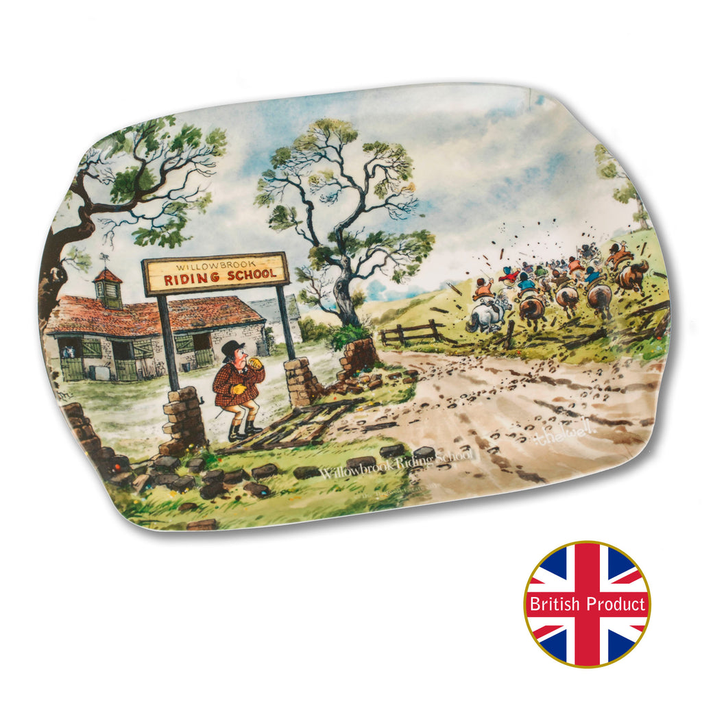 Horse riding tea tray by Norman Thelwell