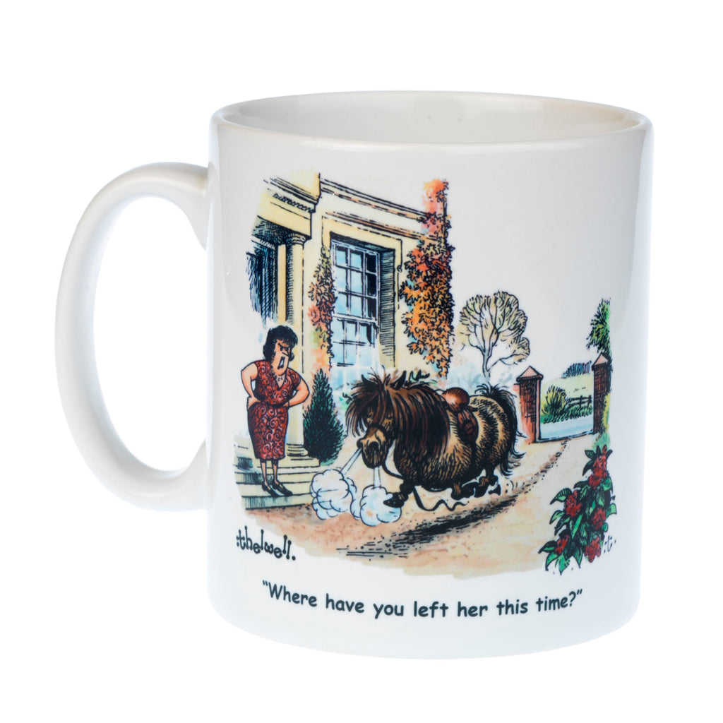 Thelwell horse riding and pony mug. Fallen rider