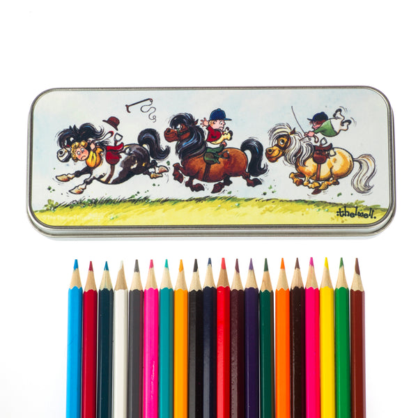 Thelwell pony pencil tin and 20 colouring pencils.