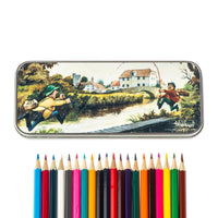 Thelwell fly fishing pencil tin and 20 colouring pencils. Tightlines
