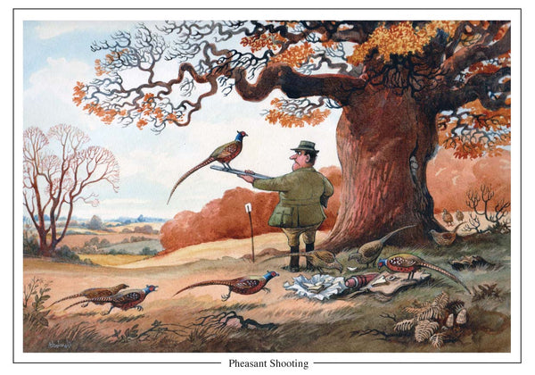 Pheasant Shooting shooting Cartoon Greeting Card by Thelwell  Edit alt text