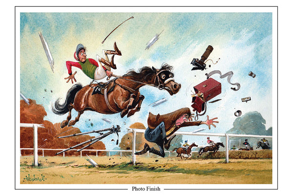 Photo Finish Horse Racing Cartoon Greeting Card by Thelwell