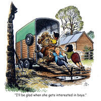 "Horse or Pony Greeting Card ""Loading the trailer"" by Norman Thelwell"