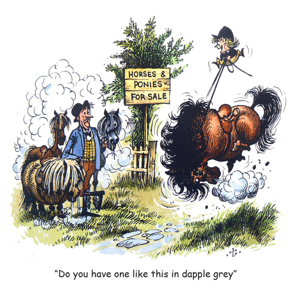 "Horse or Pony Greeting Card ""Dapple Grey"" by Norman Thelwell"