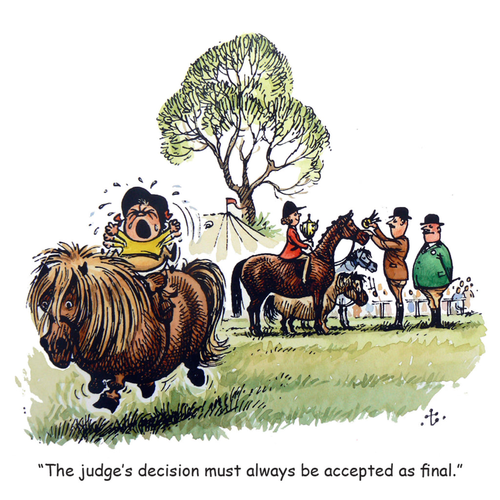 "Horse or Pony Greeting Card ""Judges Decision"" by Norman Thelwell"