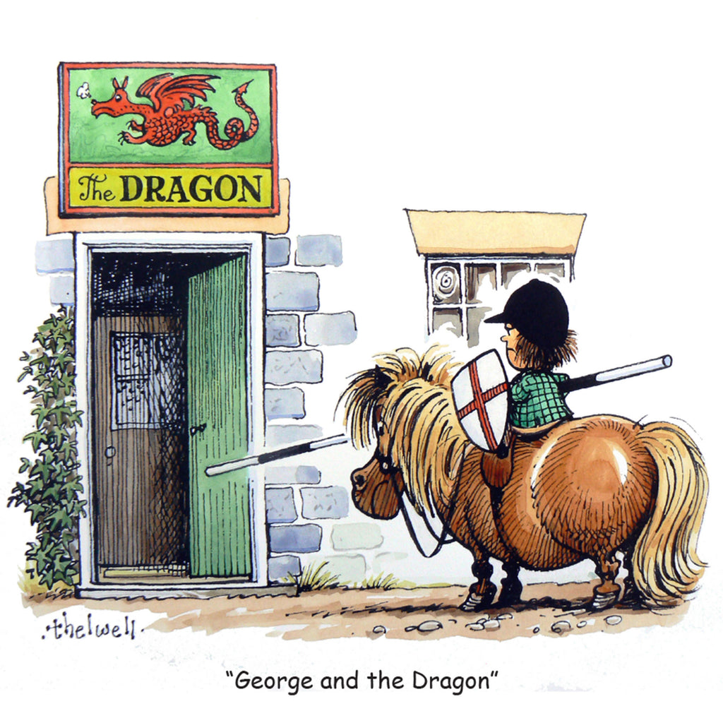 "Horse or Pony Greeting Card ""George and the Dragon"" by Norman Thelwell"