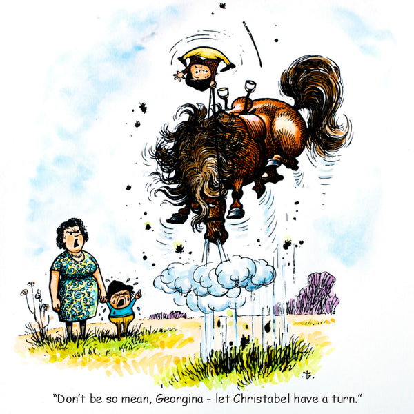 Funny horse riding card. Sharing a pony by Thelwell